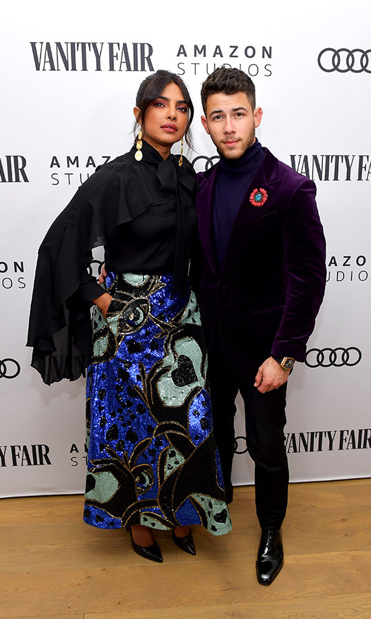 Priyanka Chopra and Nick Jonas at the Vanity Fair, Amazon Studios and Audi Celebrate The 2020 Awards Season at San Vicente Bungalows on Jan. 4, 2020. Photo: © Matt Winkelmeyer/Getty Images for Vanity Fair