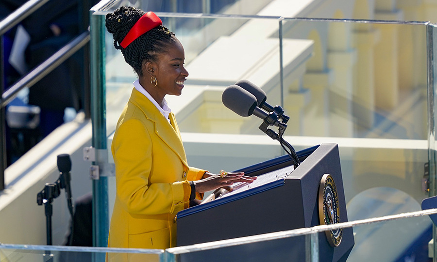 The National Youth Poet Laureate speaking during the inauguration of U.S. President Joe Biden on the West Front of the U.S. Capitol. Photo: © Drew Angerer/Getty Images