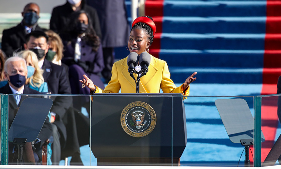 The National Youth Poet Laureate speaking during the inauguration of U.S. President Joe Biden. Photo: © Rob Carr/Getty Images
