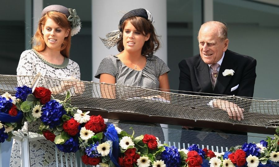 Beatrice, Eugenie and Philip at the Epsom Racecourse in 2012 during the Queen's Diamond Jubilee celebrations. Photo: © Bryn Lennon/Getty Images