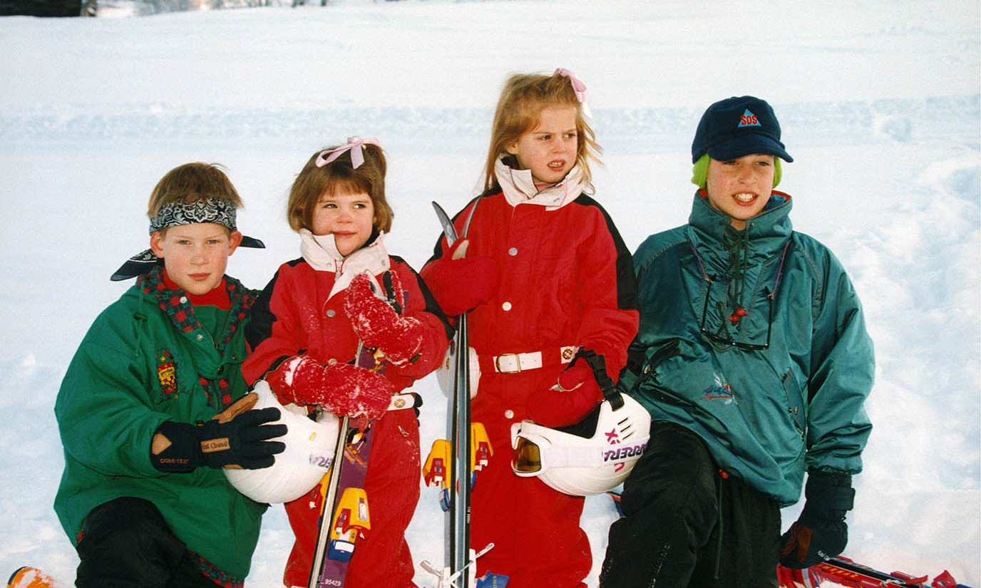 Cousins (L-R) <a href=/tags/0/prince-harry><strong>Prince Harry</strong></a>, Eugenie, Beatrice, Harry and <a href=/tags/0/prince-william><strong>Prince William</strong></a> had a ball in the snow at a photocall in the Klosters, Switzerland in January 1995. <p>Photo: &copy; Pool BASSIGNAC/BENAINOUS/MORVAN/Gamma-Rapho via Getty Images