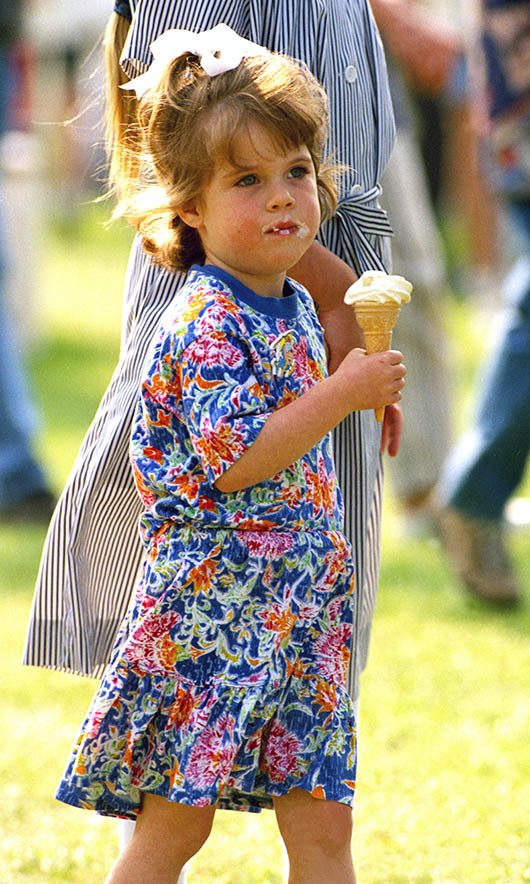 Princess Eugenie tucked into an ice cream at The Royal Windsor Horse Show on May 11, 1994.