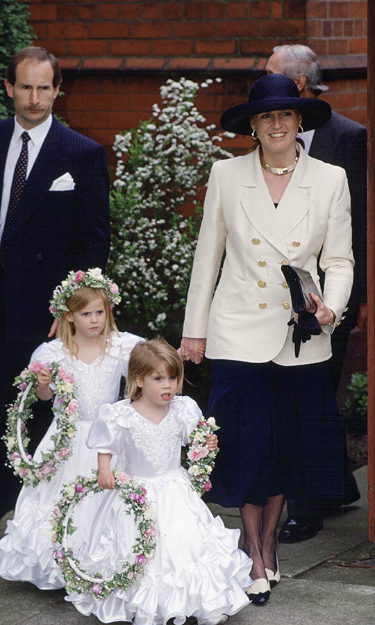 Eugenie and Beatrice were the sweetest bridesmaids at the wedding of one of their old nannies in April 1993. Look at their dresses!