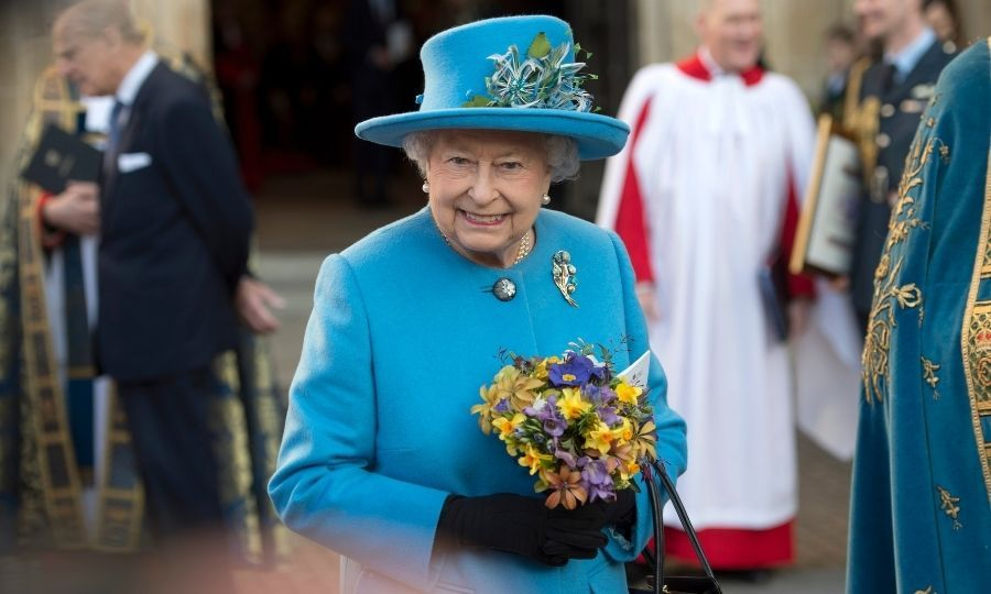 The Queen smiles as she leaves the annual Commonwealth Day service on Commonwealth Day in 2016 at Westminster Abbey, London.