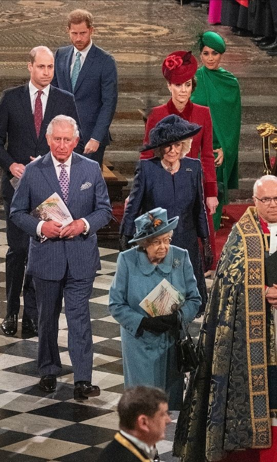 The Queen, Prince Charles, Prince of Wales and Duchess Camilla, Prince William, Duchess Kate, Prince Harry and Duchess Meghan attend the Commonwealth Day Service 2020 on March 9, 2020 in London, England. 