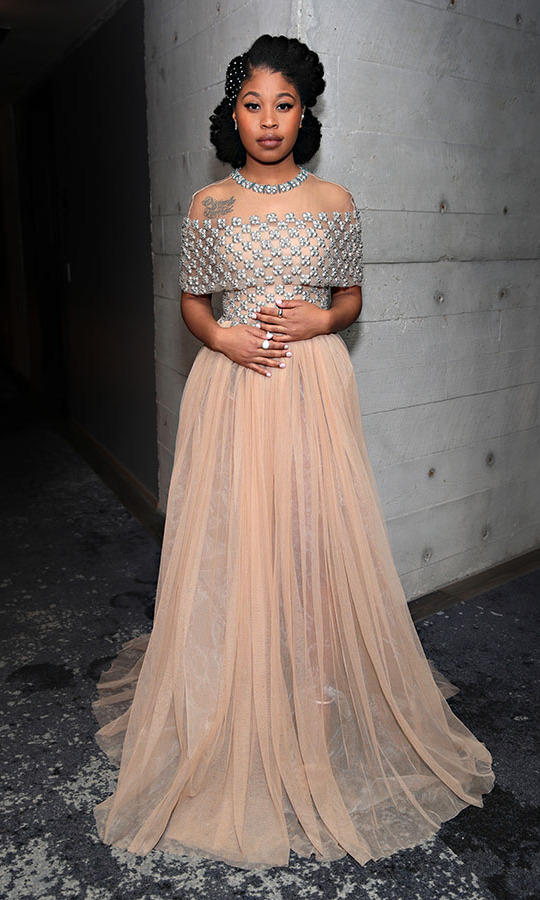 <strong>Dominique Fishback</strong> of <em>Judas and the Black Messiah</em> looked like a dream in her embellished tulle gown.