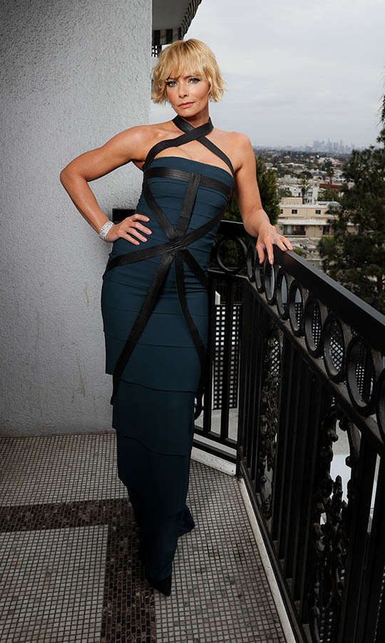 <strong>Jaime Pressly</strong> was all wrapped up in a blue gown with strappy detailing.