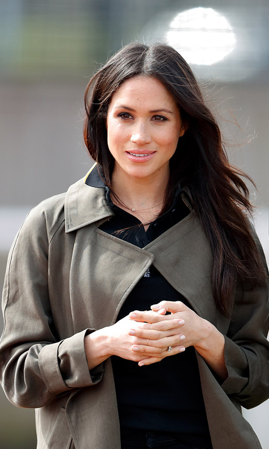 Duchess Meghan in a khaki coat at the U.K. Team Trials for the Invictus Games Sydney 2018 at the University of Bath on April 6, 2018. Photo: © Max Mumby/Indigo/Getty Images