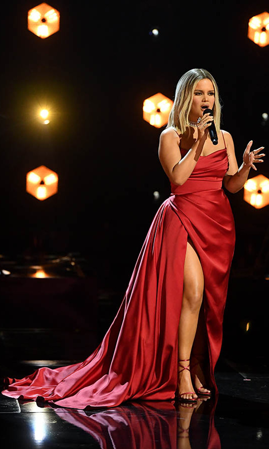 "<a href=/tags/0/maren-morris><strong>Maren Morris</strong></a> changed into a flowing red wrap gown to perform ""My Friend.""