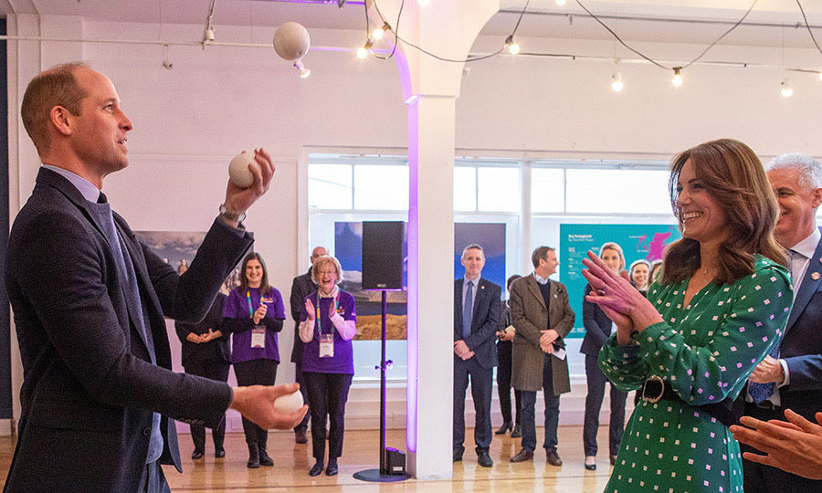 William showed off his impressive juggling skills – to Kate's  amusement – during a stop to Tribeton, on the final day of their royal tour.