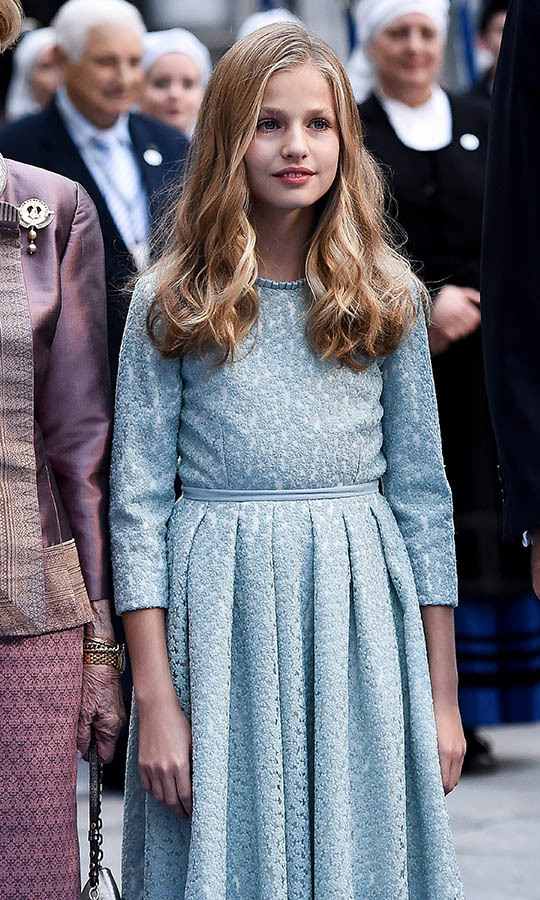 Princess Leonor of Spain arrives to the Campoamor Theatre ahead of the Princess of Asturias Awards ceremony on Oct. 18, 2019 in Oviedo. 