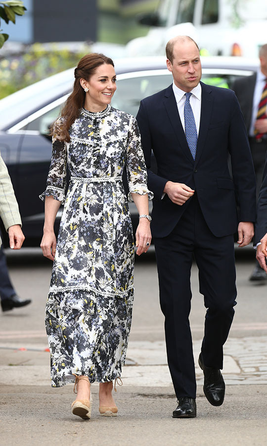 What's the perfect outfit for the <a href=/tags/0/chelsea-flower-show><strong>Chelsea Flower Show</strong></a>? Something with flowers, of course! The Duchess of Cambridge selected a beautiful black and yellow maxi gown from <a href=/tags/0/erdem><strong>Erdem</strong></a> for the 2019 show in London.