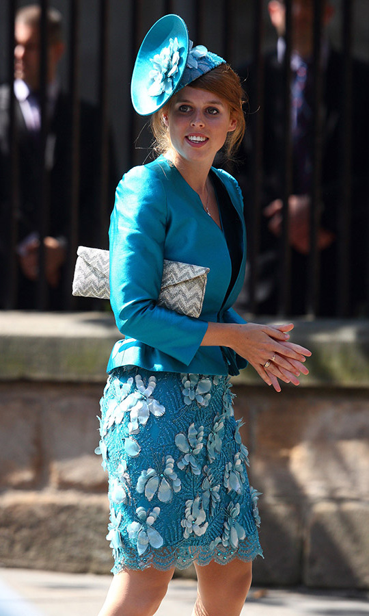 Princess Beatrice opted for a flower-embellished skirt for the wedding of <a href=/tags/0/mike-tindall><strong>Mike</strong></a> and <a href=/tags/0/zara-tindall><strong>Zara Tindall</strong></a> in 2011.