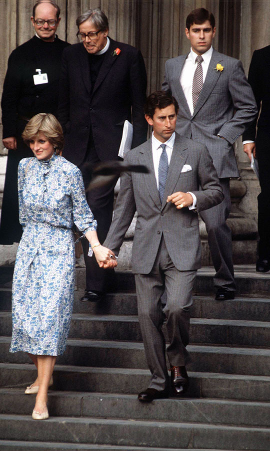 For her wedding rehearsal, <a href=/tags/0/princess-diana><strong>Princess Diana</strong></a> selected a pale blue and white dress with ditsy floral design.