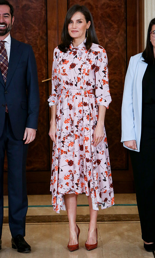 The Spanish beauty selected a pale pink dress decorated with maroon and orange flowers for audiences at Zarzuela Palace in February 2020. 