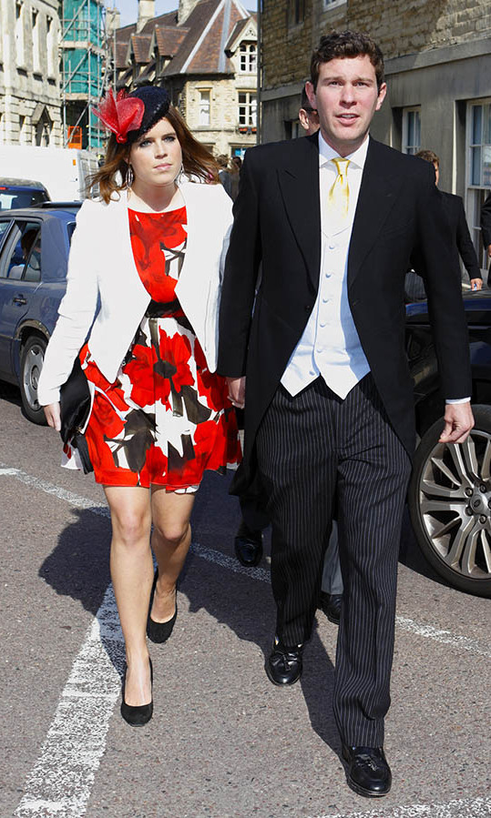 At the wedding of <strong>Lady Natasha Rufus Isaacs</strong> and <strong>Rupert Finch</strong> in 2013, <a href=/tags/0/princess-eugenie><strong>Princess Eugenie</strong></a> wowed in bold red florals with a hat to match.
