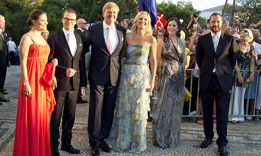 So many royals! (L-R) Crown Princess Victoria and Prince Daniel of Sweden, King Willem-Alexander and Queen Máxima of the Netherlands, Crown Princess Mary of Denmark and <a href=/tags/0/crown-prince-haakon><strong>Crown Prince Haakon</strong></a> of Norway were also at the nuptials.