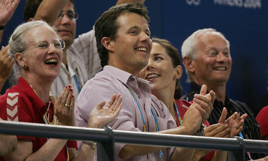 Danish royals Queen Margrethe, <a href=/tags/0/crown-prince-frederik><strong>Crown Prince Frederik</strong></a> and <a href=/tags/0/crown-princess-mary><strong>Crown Princess Mary</strong></a> showed their support for their home team during a quarter final game between Denmark and China at the 2004 Olympic Games in Athens.