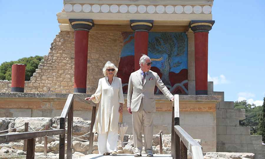 The Duke and Duchess of Cornwall visited the Knossos archaeological site in Crete on the final day of their royal tour.