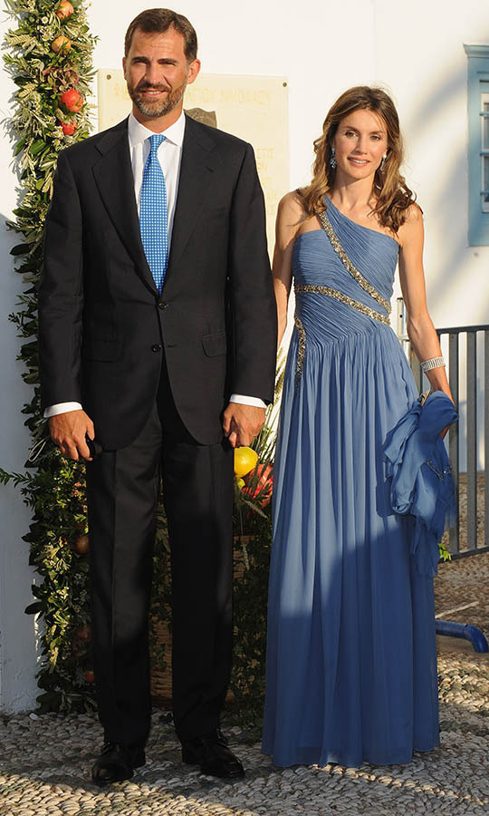 Letizia and Felipe were so glamorous for the Greek royal wedding in 2010 at the Cathedral of Ayios Nikolaos in Spetses.