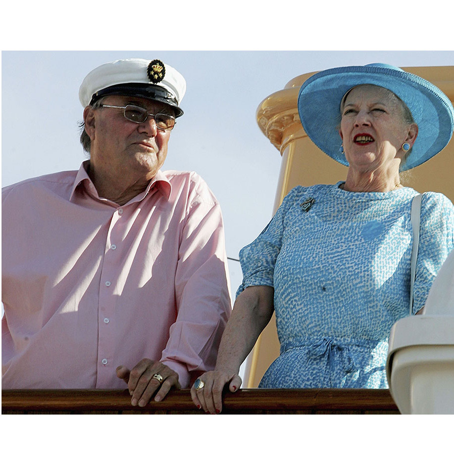 Margrethe and husband <a href=/tags/0/prince-henrik><strong>Prince Consort Henrik</strong></a> arrived in Athens on their <em>Dannebrog</em> Royal Yacht for a three-day royal tour of Greece in May 2006. 