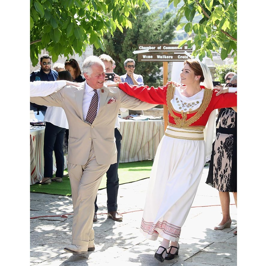 Charles participated in a traditional dance at Church Square in Crete in 2018.