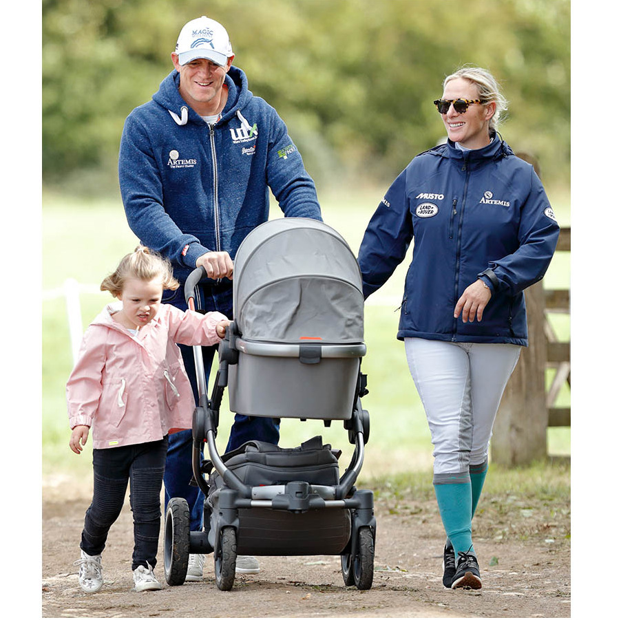 It was a fun-filled family day out for Mike, Zara, Mia and Lena (in her stroller) at the Whatley Manor Horse Trials in September 2018. 