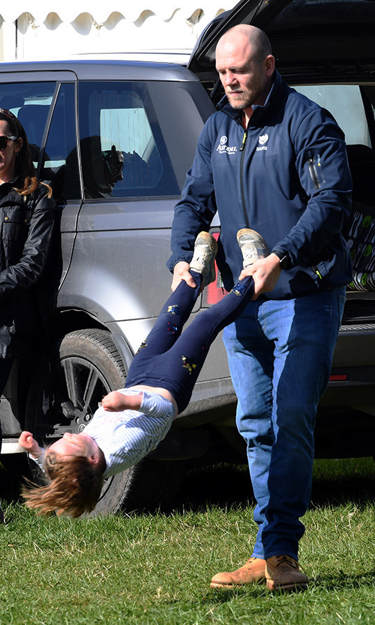 Weeeee! The former rugby player spun his eldest daughter at the Land Rover Novice & Intermediate Horse Trials at Gatcombe Park in March 2019.