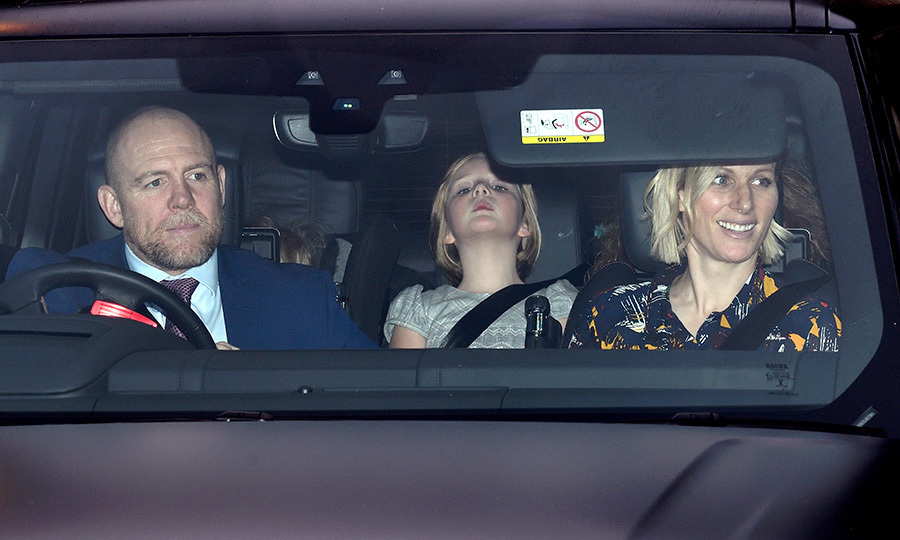Mia gave a big stretch in the backseat of the car as the Tindalls arrived for <a href=/tags/0/queen-elizabeth-ii><strong>the Queen</strong></a>'s pre-<a href=/tags/0/christmas><strong>Christmas</strong></a> lunch in December 2019. 