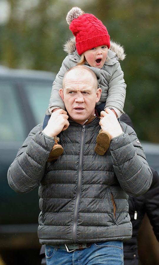 Ready for a sleep? Mia yawned as she rode on her dad's shoulders at the 2016 Gatcombe Horse Trials at Gatcombe Park. It must have been a big day for her! 