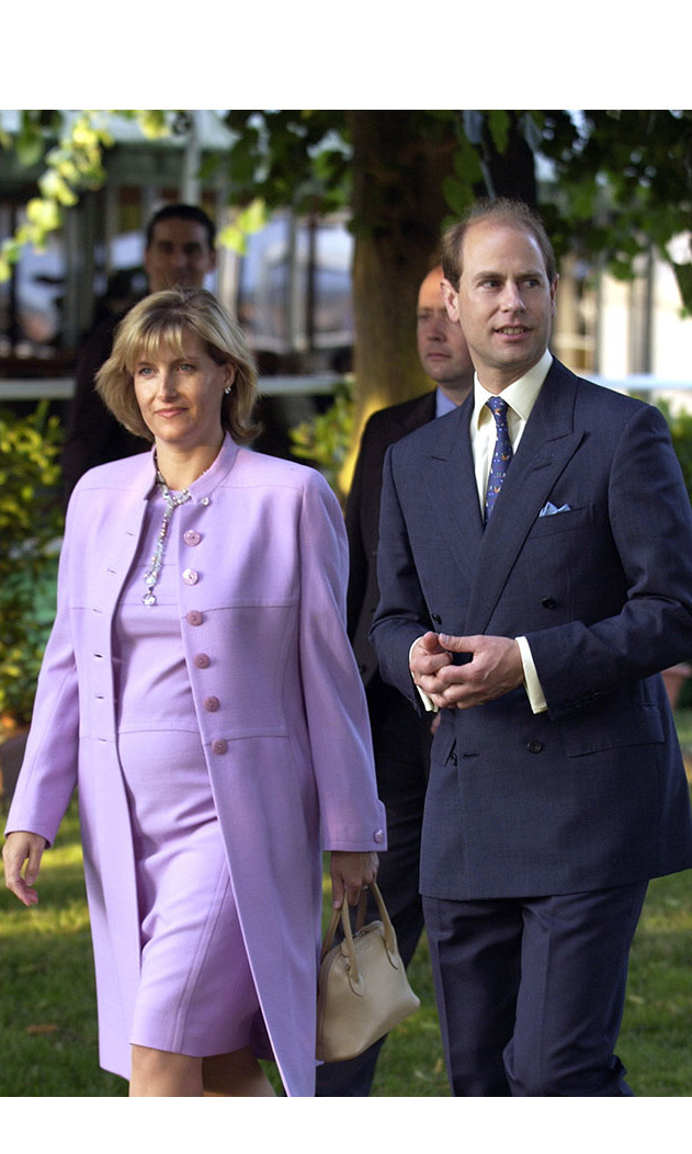 An expectant <a href=/tags/0/countess-of-wessex><strong>Countess of Wessex</strong></a> joined husband <a href=/tags/0/prince-edward><strong>Prince Edward</strong></a> for the Hampton Court Palace Flower Show in July 2003 in beautiful lilac coordinates.