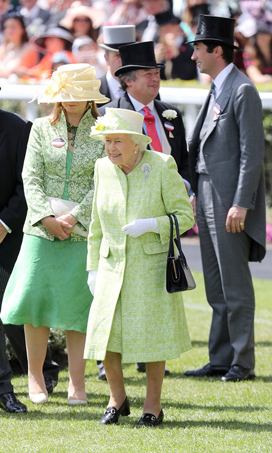 At <a href=/tags/0/royal-ascot><strong>Royal Ascot</strong></a> 2019, <a href=/tags/0/queen-elizabeth-ii><strong>the Queen</strong></a> made a cheerful impression in a pistachio green tweed coat and matching dress.