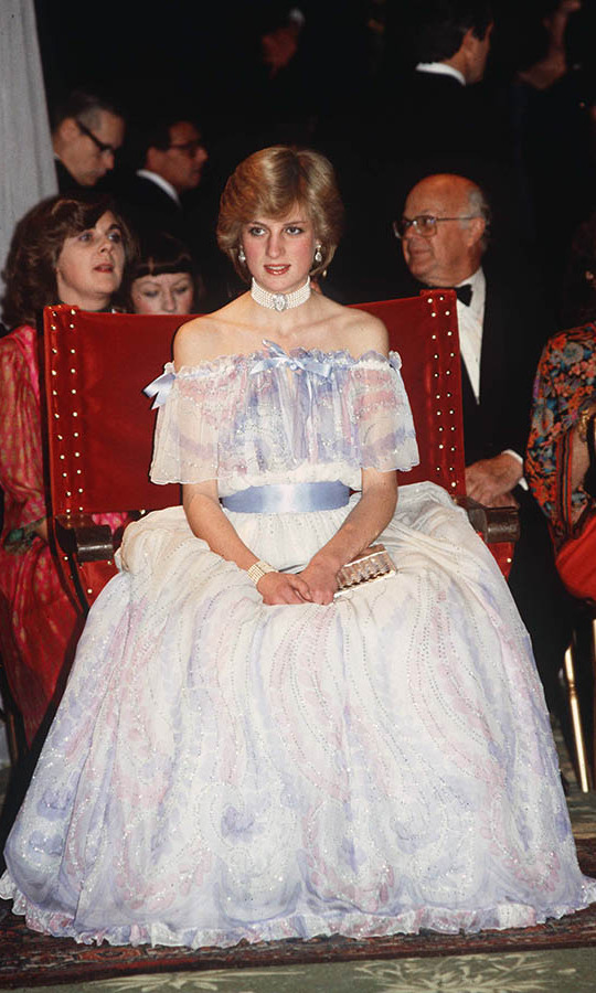 Princess Diana looked like the belle of the ball in a dreamy white, pale pink and lavender gown from <strong>Bellville Sassoon</strong> at an exhibition at the Victoria & Albert Museum in London in November 1981.