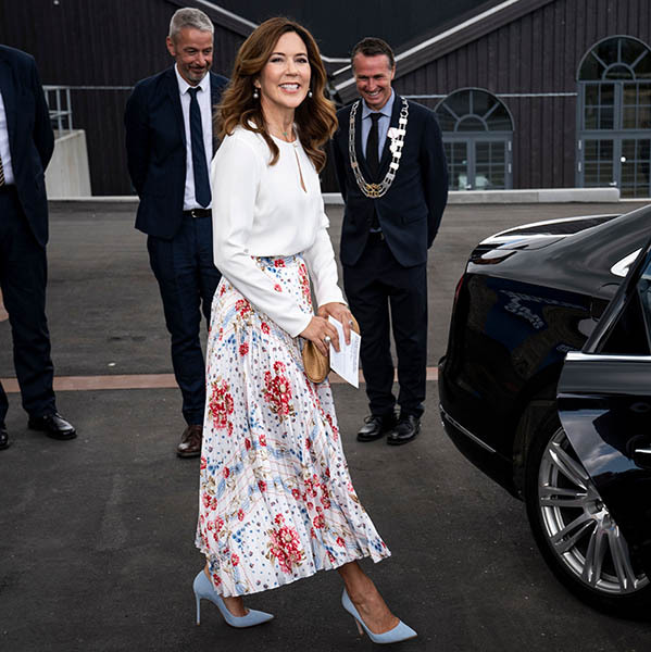 <a href=/tags/0/crown-princess-mary><strong>Crown Princess Mary</strong></a> made a stylish appearance for the opening of a Copenhagen museum on June 8, 2020 thanks to her floral skirt and pale blue pumps.