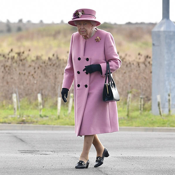 Her Majesty was colour coordinated in a dusty pink coat and hat when she stepped out to a very rare in-person engagement in 2020 to the Energetics Analysis Centre in Salisbury. 