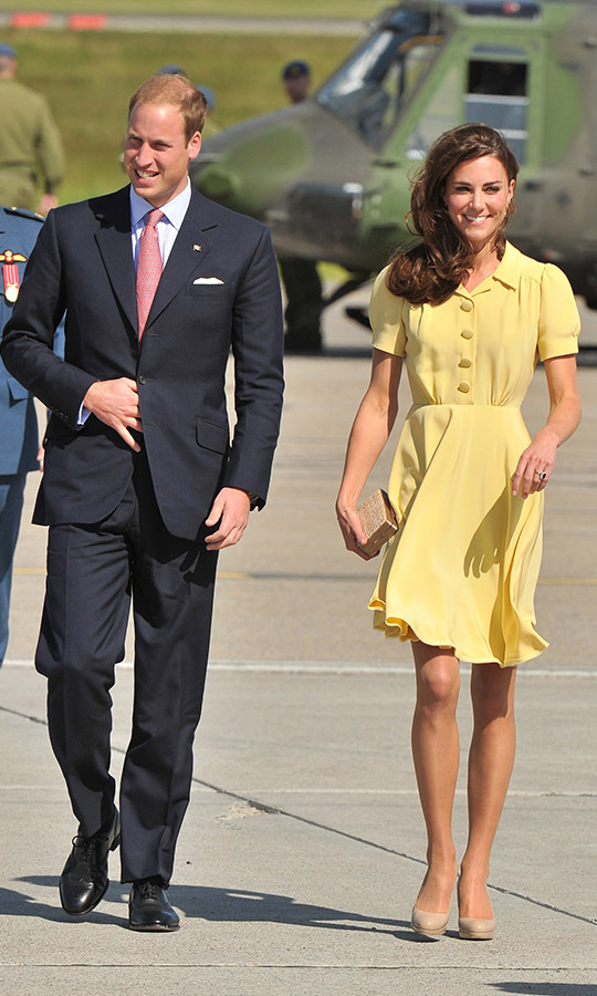 Kate looked so cheerful in a yellow dress as she joined <a href=/tags/0/prince-william><strong>Prince William</strong></a> on their royal tour of North America with a stop in Calgary back in 2011.