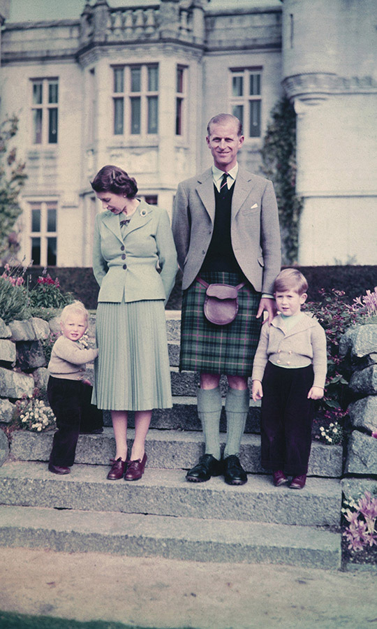 Prince Philip embraced Scottish fashion with a kilt and sporran while at Balmoral for the summer with his young family, including <a href=/tags/0/prince-charles><strong>Prince Charles</strong></a> and <a href=/tags/0/princess-anne><strong>Princess Anne</strong></a>, in September 1952.