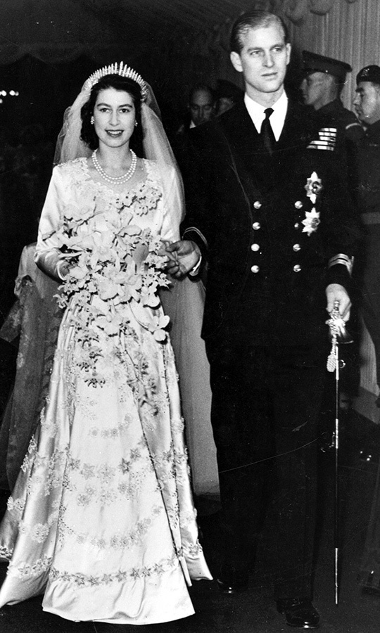 At their wedding on Nov. 20, 1947 at Westminster Abbey, the duke looked positively dashing next to the future Queen Elizabeth II.