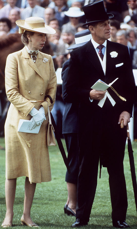 The duke carried off a top hat and formal dress for the Epsom Derby Races in June 1982 next to an equally fashionable Princess Anne.