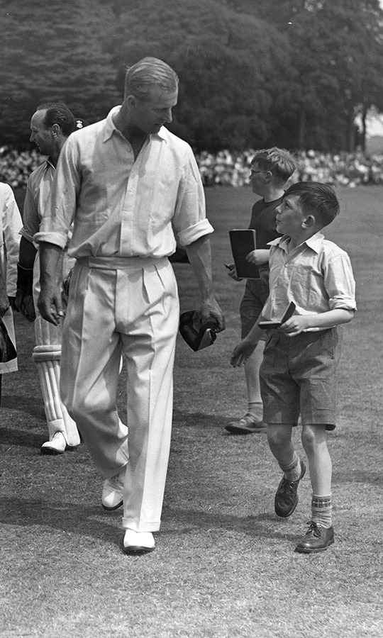Even on the pitch, Philip maintained his refined style. This button-down shirt and pleated pants for a celebrity cricket match against the <strong>Duke of Norfolk</strong>'s team at Arundel in August 1953 is no exception.