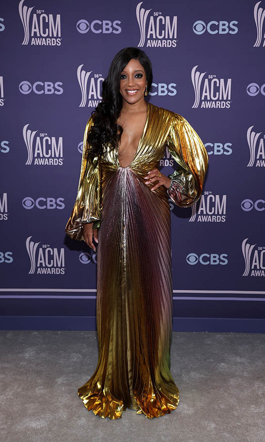 This ombré lamé gown was another one of Mickey Guyton's winning looks.