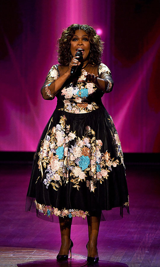 All eyes were on <strong>CeCe Winans</strong> in this embroidered floral dress as she performed with Carrie Underwood.