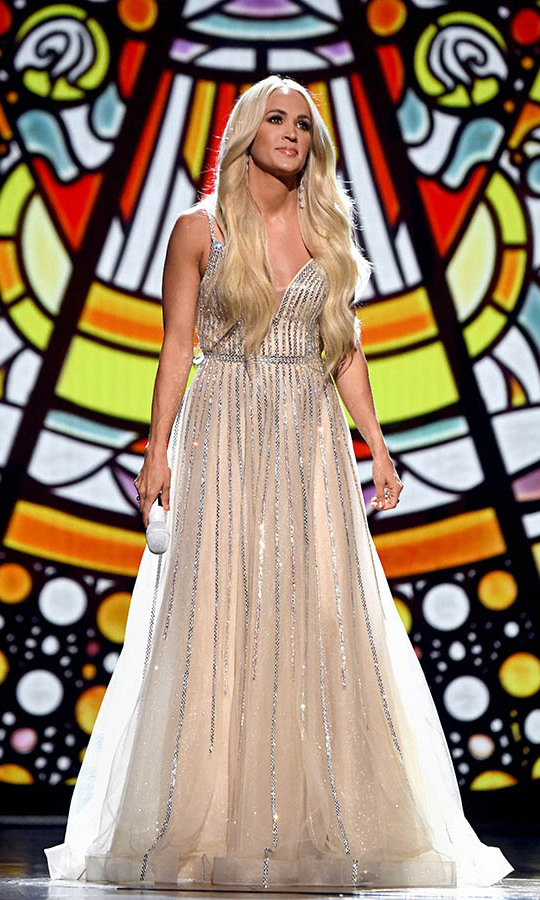 "Carrie Underwood captivated in an embellished tulle gown during her performance of ""My Savior.""