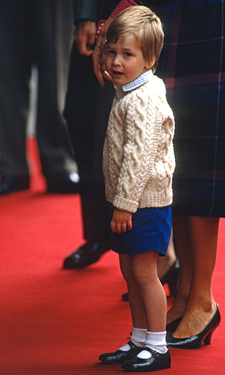 <a href=/tags/0/prince-william><strong>Prince William</strong></a> left the <em>Royal Yacht Britannia</em> on Aug. 16, 1985 in Aberdeen, Scotland holding mom Princess Diana's hand.