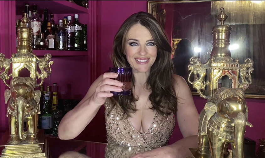 Elizabeth Hurley raised a glass during the event.