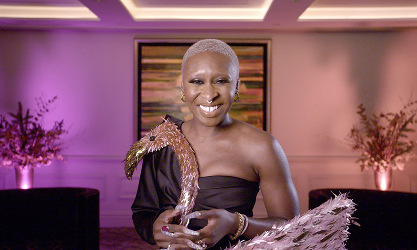 Cynthia Erivo was seen with a fun flamingo prop in a pink room.
