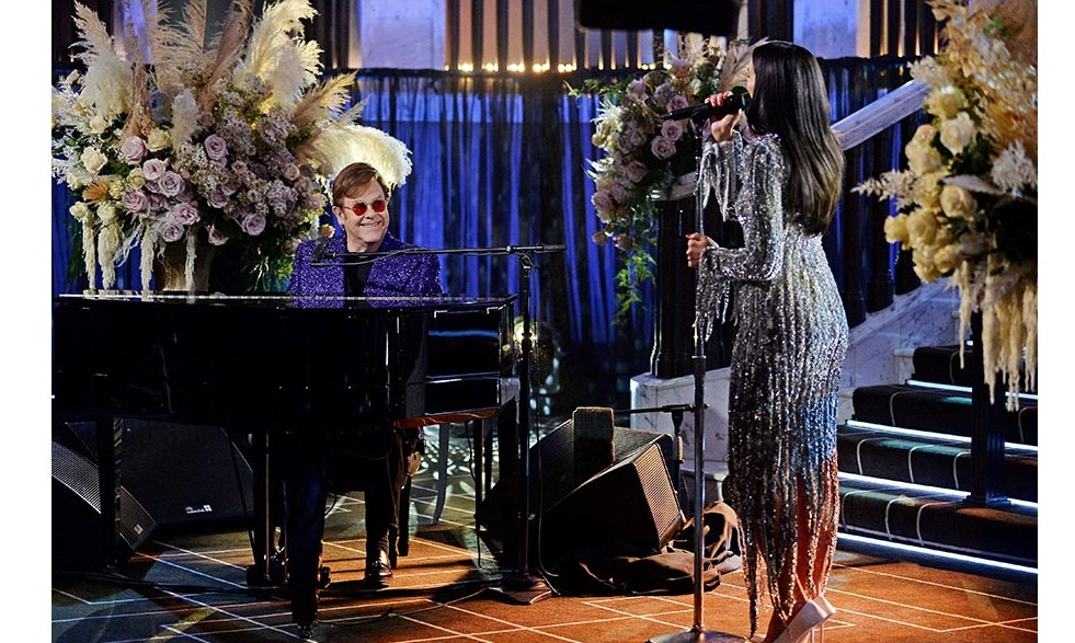 She was joined by Elton on the piano!