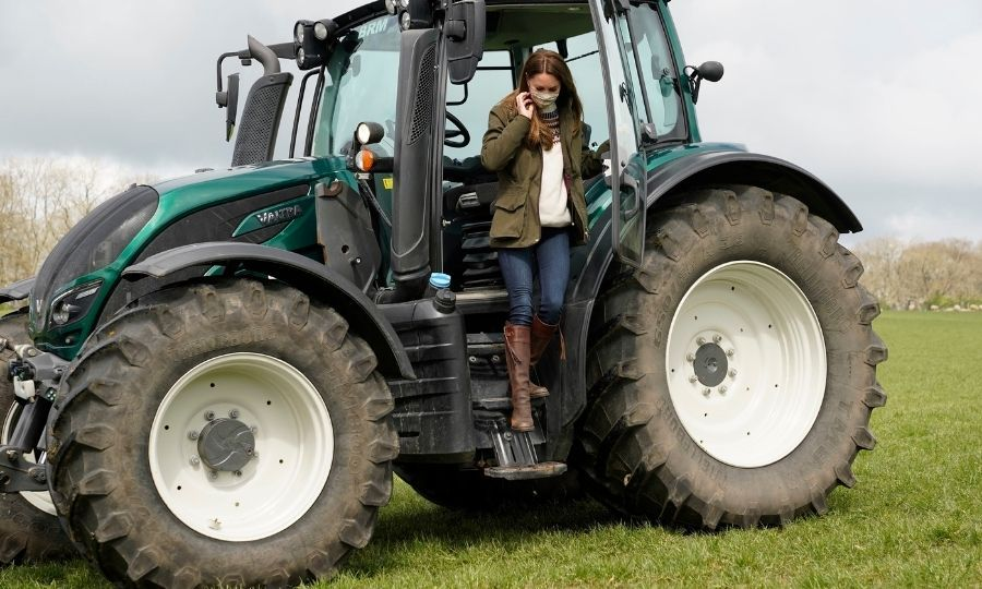 The Cambridges also got to learn to use tractors the couple have!