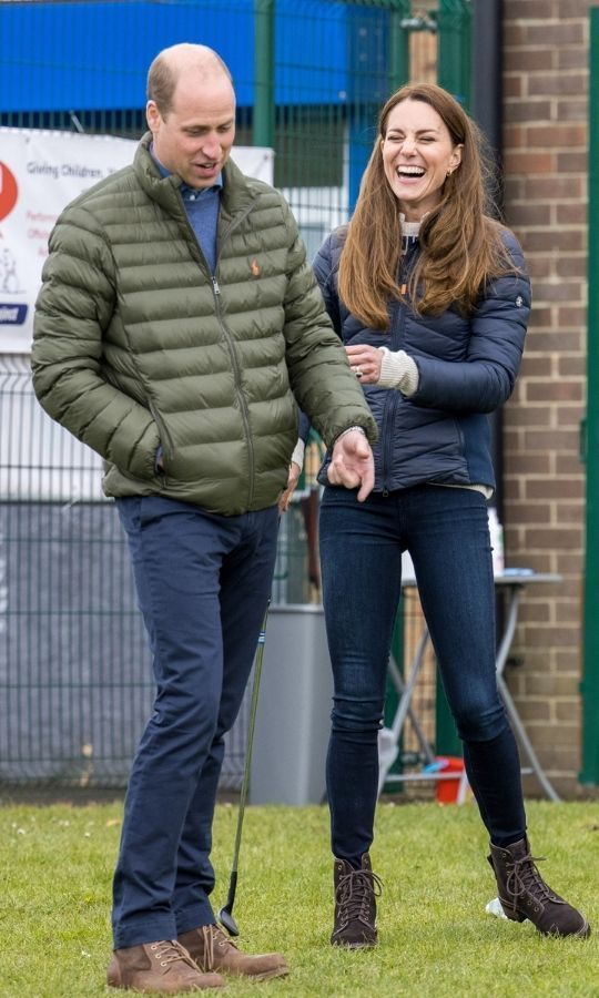 Casual chic! <a href=/tags/0/kate-middleton><strong>Duchess Kate</strong></a> and <a href=/tags/0/prince-william><strong>Prince William</strong></a> coordinated in puffer jackets while visiting the Cheesy Waffles Project in County Durham on April 27.
