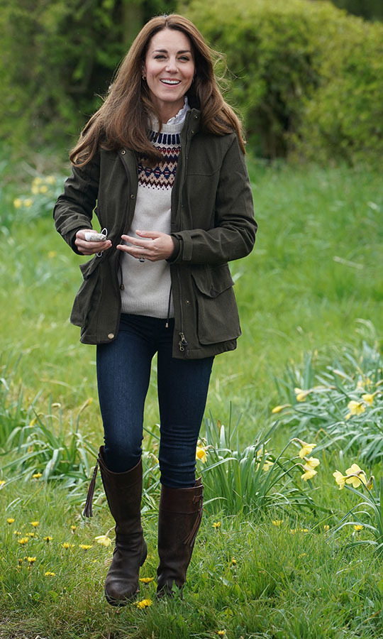 Earlier in the day, the duchess stepped out in another dressed-down outfit to visit Manor Farm in Little Stainton.